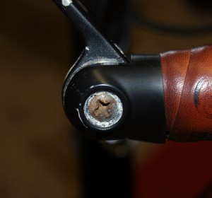 Bar end shifter with aftermarket screw