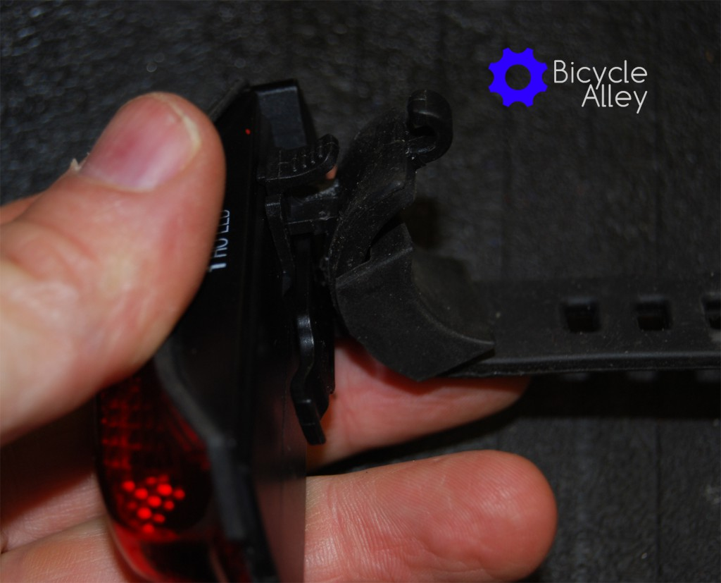 You can see how the Bell Arella 100 Tail Light attaches to the silicon mounting strap.