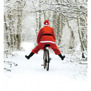 Santa Claus on a new bicycle.