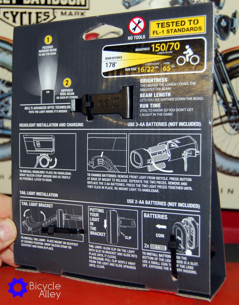 Back of packaging for the Bell Lumina Premium Bicycle Light Set