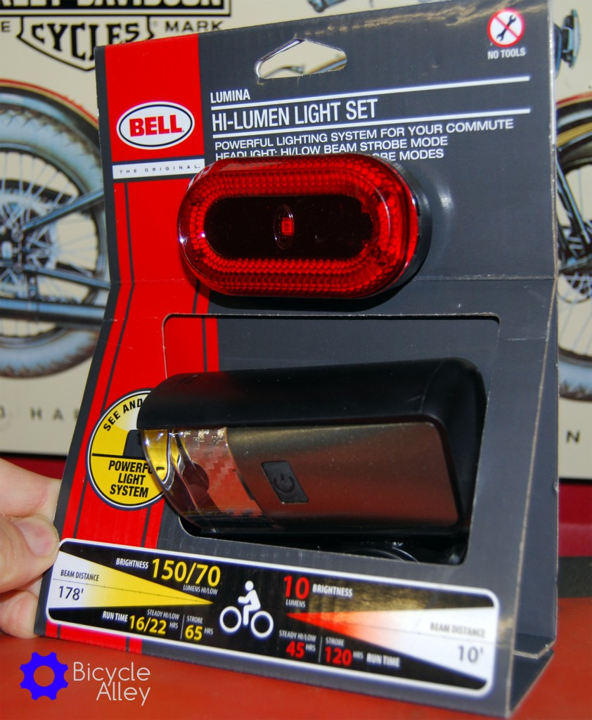 Front of packaging for the Bell Lumina Premium Bicycle Light Set