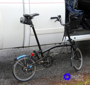 After unfolding the Brompton bicycle it was ready to ride 2.5 miles to the local U-haul rental yard to rent a truck.