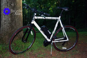 This is the bike with stock tires and before I installed the Planet Bike fenders and Topeak rear rack.